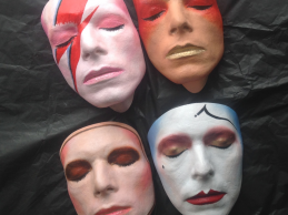 David Bowie hand painted masks by Nicholas Boxall, on sale now