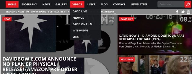 DavidBowieNews.com – Website User Guide